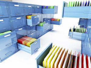 file cabinets opened with files